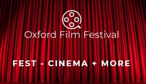 Logo for Oxford Film Festival with red theatre curtains