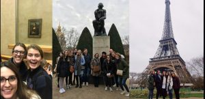 Compilation photo from the art history trip to Paris, including students in front of the Mona Lisa, the Thinker statue, and the Eiffel Tower