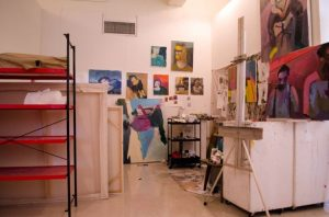 photo of an individual's advanced painting studio