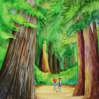 Paper art of two people walking in forrest of giant trees.