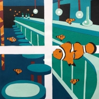 Paper art with four frames that show clown fish at a bar.