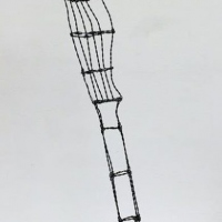 Wire sculpture of a hammer pulling out a nail.