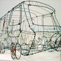 Wire sculpture of the Scooby Doo van,