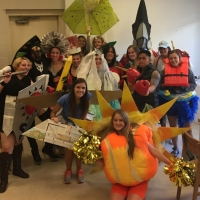 Group photo of a 3-D Designs class in costumes.