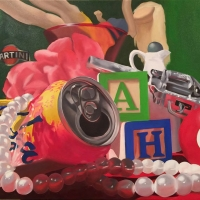 Realistic painting of random objects such as a can, a peal, necklace, and children's letter blocks.