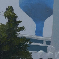 Painting of a tree and a water tower in the background.