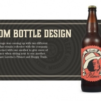 Two beer bottle with a custom bottle design on them and a description of the challenge faced in making them.