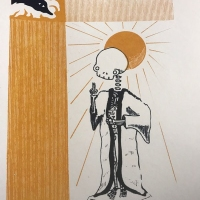 Print of a skeleton wearing a robe with an orange sun behind it.