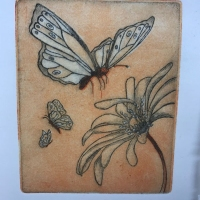 Print of a butterfly landing on a flower.