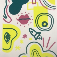 Abstract print with shapes, a rocket, lips, and an eye.