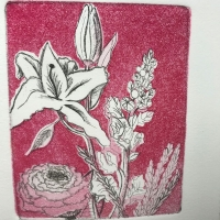 Print of some flowers with a red background.