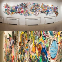 A wide view and close up view of a colorful abstract art installation.
