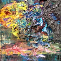 Abstract painting with many colors.