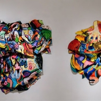 Two colorful abstract art installation pieces.